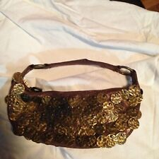 BETSEY JOHNSON Crackle Copper SUEDE BRONZE DISC Small HOBO PURSE BAG