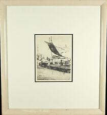 "Philip Kappel Signed Boat Etching Framed 23 1/2""x21 1/2"""