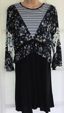 NEW NEXT 10 black cream blue floral and stripe frill fluted sleeve tunic dress