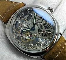 PARNIS MANUAL HAND WINDING SKELETON STYLISH MENS DRESS UHR OROLOGIO MONTRE WATCH