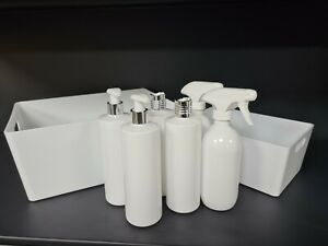 White Home Storage Box Cleaning Caddy Mrs Hinch Spray Bottle Lotion Bottle Kit