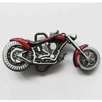 Motorrad Oldtimer Chopper classic Racer Gürtelschnalle Buckle *141 rot