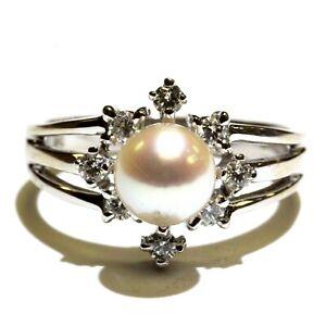 14k white gold .32ct diamond pearl ring 5.0g estate vintage antique womens 8.5