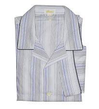 Brioni Men's Blue White 100% Cotton Striped Pajamas
