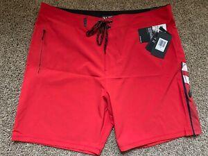 $70 BRAND NEW HURLEY PHANTOM MENS RED BOARD SHORTS JOHN FLORENCE JJF 34 x 18