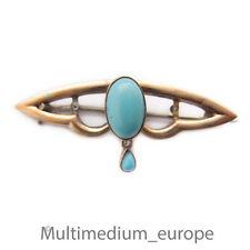 333 él broche de oro color turquesa Jugendstil 8k Art Nouveau Brooch 8ct Turquoise