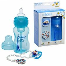 Blue Wide Neck 240ml Baby Bottle Pacifier Soother Clip Gift set pack Dr Browns