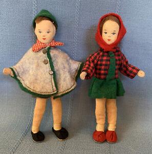 Vintage German Dollhouse Dolls Erna Meyer Boy Girl stockinette faces