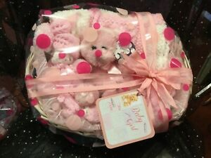 HAND KNITTED BABY GIRL BOBBLE &POM POM  BLANKET WITH CUDDLY TEDDY SHOWER GIFT