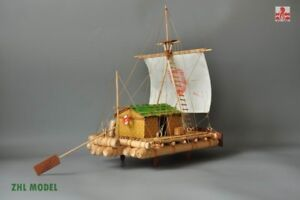 "Kon-Tiki Raft Scale 1/18 15.8"" Wood Model Ship Kit Model ship"