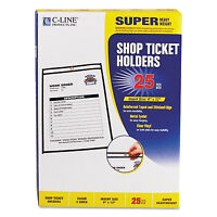 """C-Line Shop Ticket Holders Stitched Both Sides Clear 75"""" 9 x 12 25/BX 46912"""