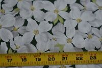 "32"" Long, White & Yellow Floral on Dark-Green Fabric/Timeless Treasures, N3929"