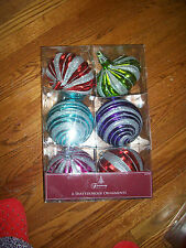 6 TRIMMING TRADITIONS SHATTERPROOF ORNAMENTS Lg RED-GREEN-Purple-Blue
