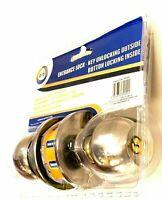 Entrance Door Lock Key Unlocking Button 35mm to 50mm Lock in Polished Brass