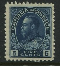Canada KGV 1912 5 cents indigo Admiral scarce single mint o.g.