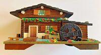 VINTAGE MUSICAL LOG CABIN TEA HOUSE JEWELRY TRINKET BOX WATER WHEEL WIND JAPAN