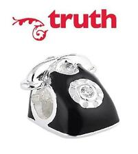 Genuine TRUTH PK 925 sterling silver and enamel telephone charm bead rare & cute