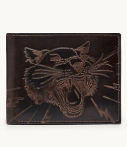 Fossil Men's Panther Traveler Leather Wallet Dark Brown