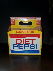 Vintage 1960s Sugar Free Diet Pepsi-Cola  Bottles Carrier  Pint Size Btl Version