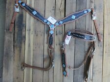WESTERN HEADSTALL BREAST COLLAR BROWN GATOR TURQUOISE HORSE LEATHER TRAIL BRIDLE