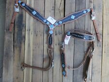 TURQUOISE BLUE WESTERN HEADSTALL BREAST COLLAR SHOW GATOR HORSE LEATHER BRIDLE