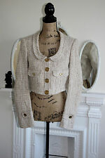 Burberry Woman Ivory Beige Loose Weave Cotton Wool 60s Style Jacket 8 10 Small !