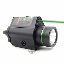 Combo Tactical CREE Flashlight & Green Laser Sight Weaver Rail For Pistol/Glock