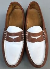 Polo Ralph Lauren Brown & White Penny Loafers Leather & Suede Shoes Mens Sz 13D