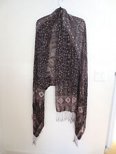 NEW from Indonesia Rayon, Gossamer Weight, Long Shawl, Scarf, Dark Brown/Whit OS