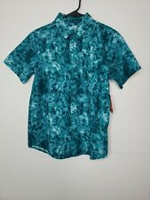 New Tags Wonder Nation Boys Button Front Shirt Large Husky 10-12 Green Floral