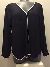 JONES NEW YORK JNY Tipped Blouse in BLACK Semi-Sheer Long Sleeve Sz 2 NWT