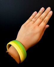Genuine Vintage 60s Sixties MOD GOGO Lucite Green Yellow Chunky Bangle Bracelet