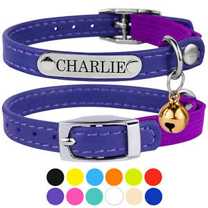Genuine Leather Cat Collar Personalised Pet Collars for Cats Kitten with Bell