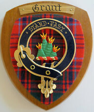 NOS Scottish Clan GRANT Oak Tartan Plaque Crest Shield  STAND FAST
