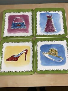 PIER ONE IMPORTS FASHION APPETIZER PLATE SET Of 4