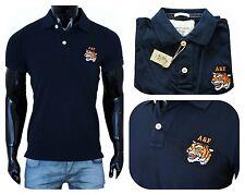 Nuovo Uomo Abercrombie&Fitch Polo Tshirts Maglietta Blu Marina Taglia:L