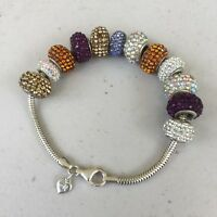 Michael Anthony MA 925 Sterling Silver Slide Charm Bracelet and Bejeweled Beads