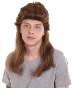 Adult 80's Mullet Honey Brown Wig Halloween Cosplay Party Costume Hair HM-364A