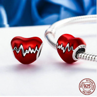 PANDORA CHARM RED HEART 925 STERLING REAL SILVER  BRACELET Fashion