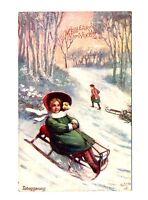 CPA fantaisie Bonne Année  Fillette sur sa luge Raphaël Tuck  Oilette postcard