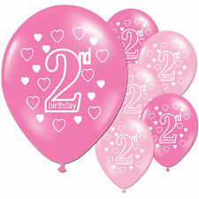 "10 Pink Girl's 2nd Birthday Party 11"" Pearlised Latex Printed Balloons"