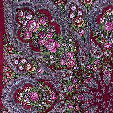 Russian Pavlovo-Posad Style Vintage Shawl Scarf Wrap Red Roses 115 x 115 cm