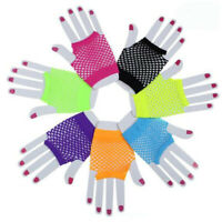 Women Solid Bride Wedding Party Lace Fingerless Mesh Sexy Fishnet Short Gloves