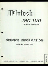 McIntosh MC 100 Power Amplifier Amp Rare Original Factory Service Manual