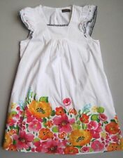 Catimini Girls 14 Yrs White Floral Embroidered Dress EUC 156 cm Red Orange