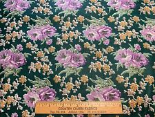 Vintage Cotton Fabric 30s40s PRETTY Purple & Orange Floral 35w 1yd