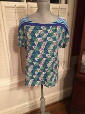 NEW With Tags Ella Moss Pattern Green Blue Purple Top Size S $102