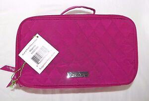 VERA BRADLEY Blush & Brush Makeup Case Cosmetic - Magenta Pink Microfiber - NWT