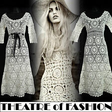 VINTAGE 70s CROCHET DRESS LACE WEDDING 8 6 10 60s HIPPY BOHO FESTIVAL VAMP GYPSY