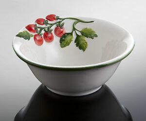 BASSANO  Servierschale Tomate rund Ausgefallene italienische Keramik 17,5x6,5